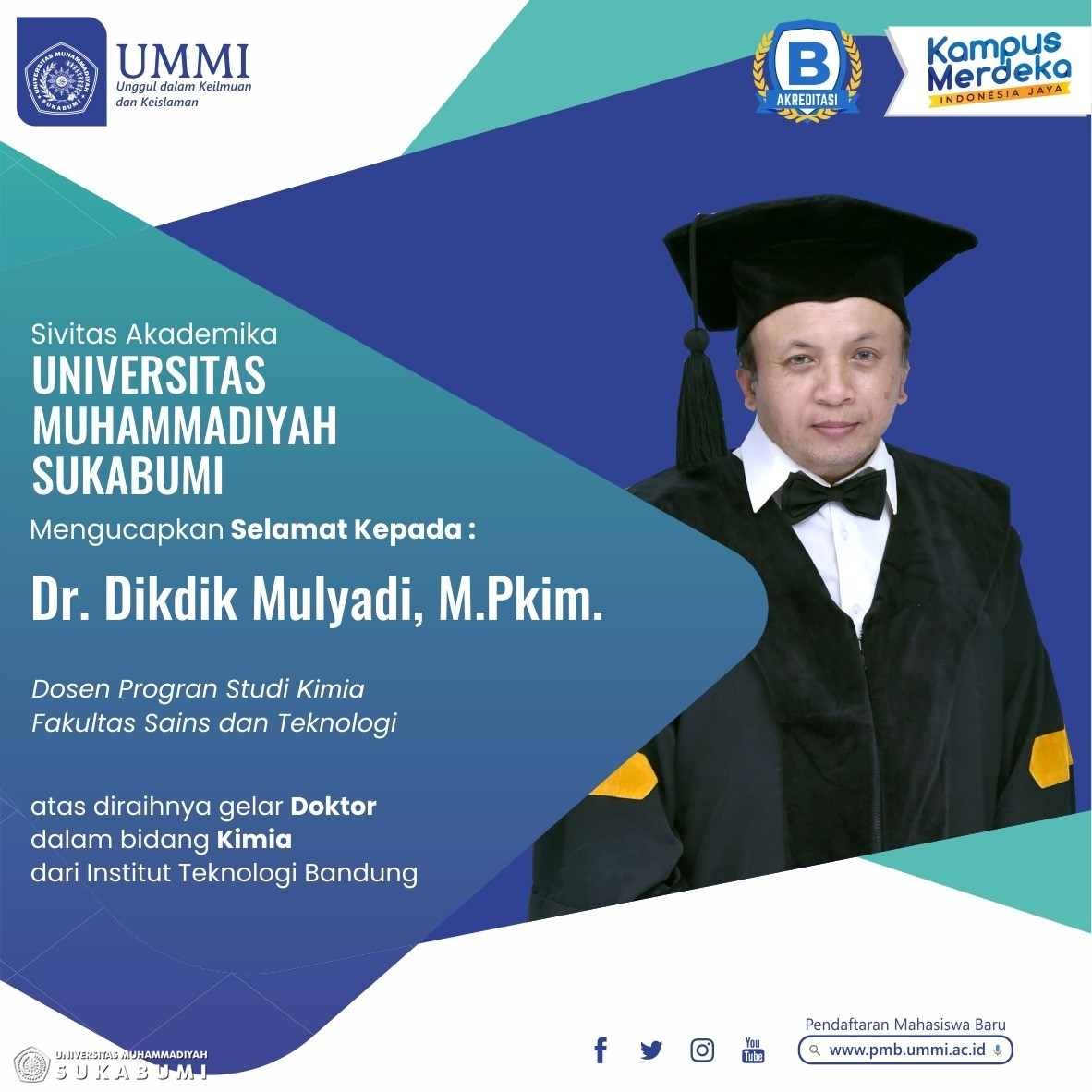 Dikdik Mulyadi, Dosen Program Studi Kimia UMMI Raih Gelar Doktor